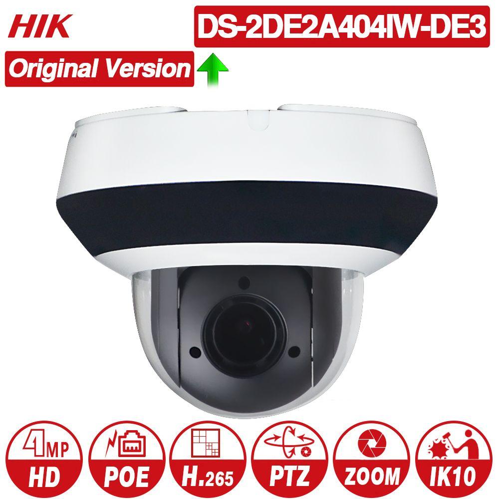 Hikvision Original PTZ IP Kamera DS-2DE2A404IW-DE3 4MP 4X zoom Netzwerk POE H.265 IK10 ROI WDR DNR Dome CCTV Kamera
