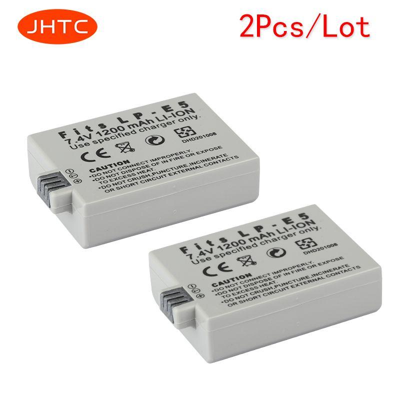 JHTC 2 pcs/lot 1200 mAh LP-E5 LPE5 batterie d'appareil photo pour CANON 450D 500D 1000D KISS X2 X3 F rebelle XS XSi T1i batterie de LP-E5