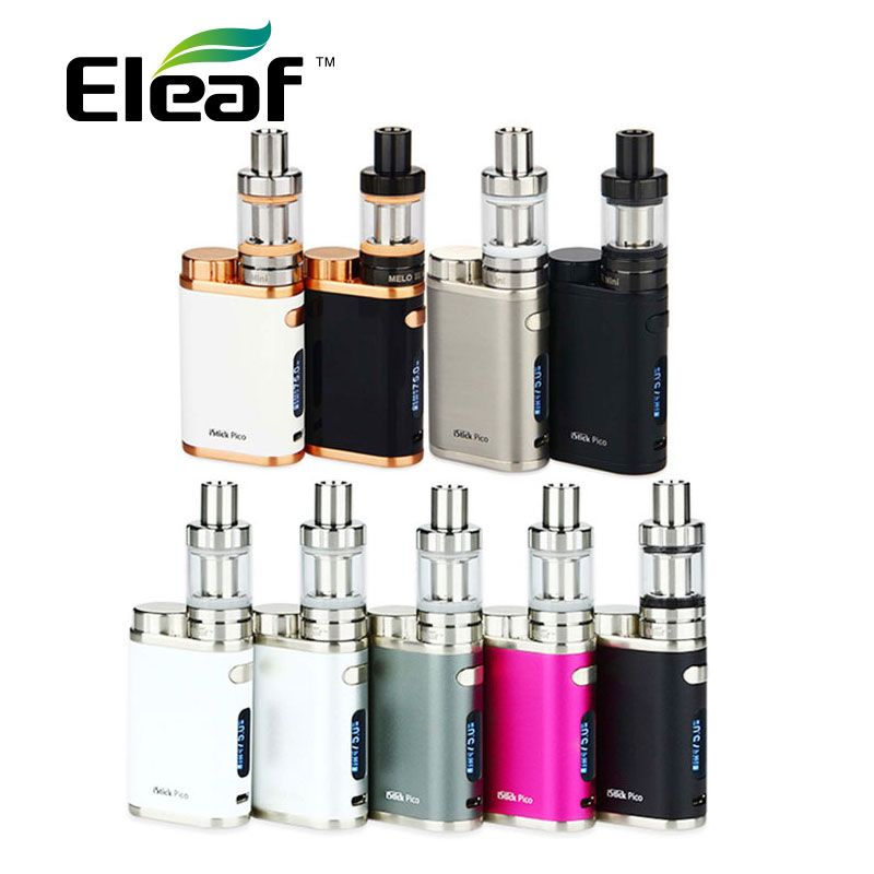 Original <font><b>Eleaf</b></font> iStick Pico Starter Kit w/ 2ml MELO 3 Mini Tank & 75W Box Mod & EC 0.3ohm/0.5ohm Coils e-Cigarette vs ikuun i200