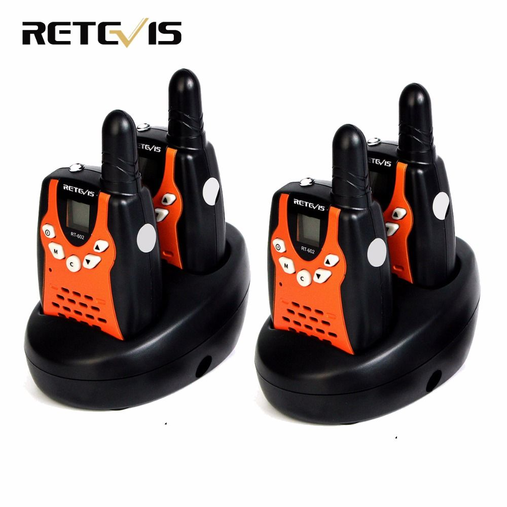 4pcs Kids Radio Walkie Talkie Retevis RT602 UHF 446MHz 0.5W 8CH LCD Display VOX With Charger Battery Two Way Radio A7120