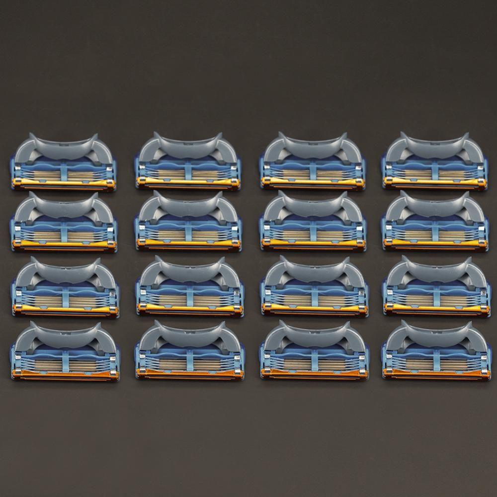 16 pièces 5 couches lames rasage lames de rasoir pour hommes Gilett Fusion puissance rasoir lames Gillettes Proglide lames de rasage Replacem