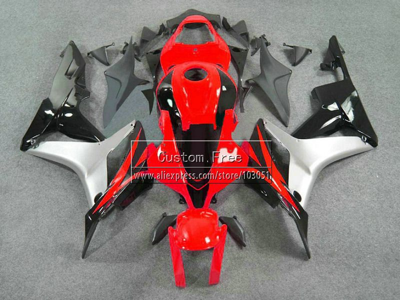 ABS Injection fairings kits for Honda CBR 600 RR F5 fairing set 07 08 CBR 600RR CBR600RR 2007 2008 red silver motorcycle parts