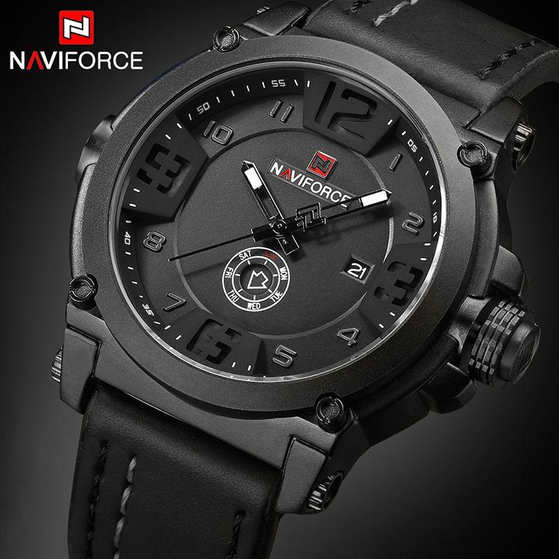 NAVIFORCE Top marque de luxe hommes sport militaire montre à Quartz homme analogique Date horloge bracelet en cuir montre-bracelet Relogio Masculino