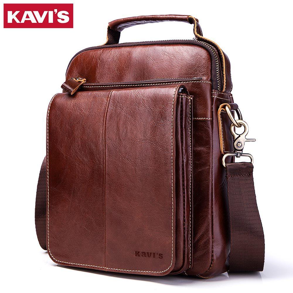 KAVIS Top Quality Genuine Leather Original Messenger Bag Men Shoulder Bag Crossbody Handbag Bolsas Sling Chest Clutch Male Sling