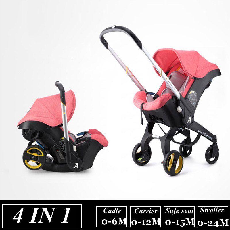 4 In 1 Baby Stroller Newborn Baby Bassinet Cradle Type Child Safety Seat Baby Carriage Basket Baby Car Travel Fold Pram 3 In 1