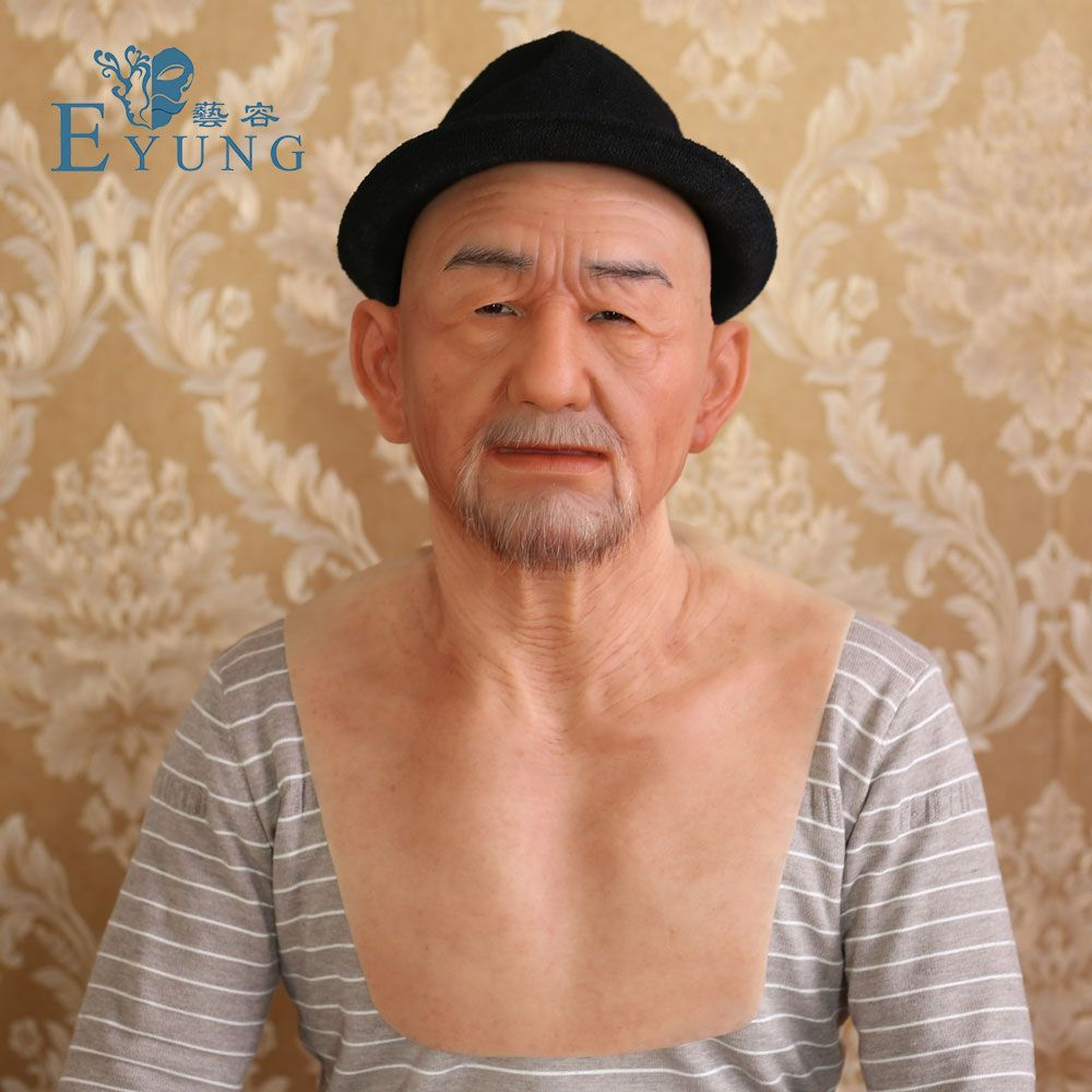 EYUNG Old William good quality realistic silicone face, old man masquerade for christmas,full head Tricky props for halloween