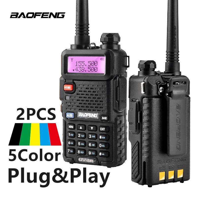 2 pièces Baofeng UV-5R Talkie Walkie UV5R CB Radio Station 5 W 128CH VHF UHF Double Bande UV 5R Deux way Radio pour La Chasse Jambon Radios
