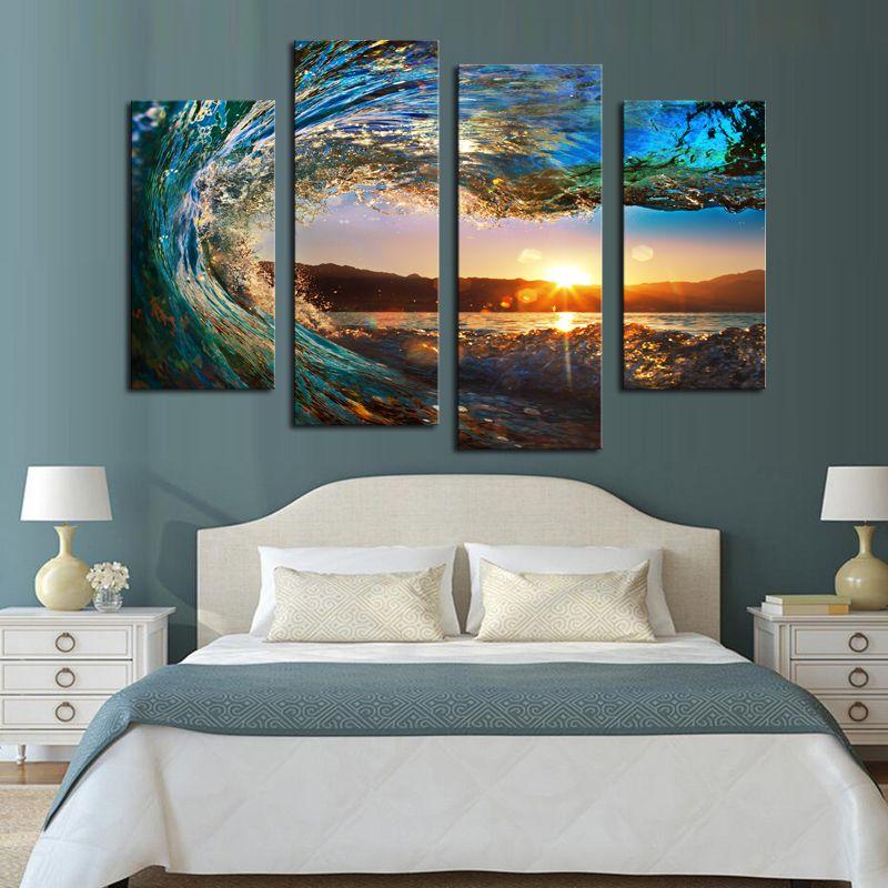 Четыре доска эта мозаика Бытовая Искусство украшения стены плакаты Отпечатано морской парусина принт бытовое украшение морской пейзаж, Surf
