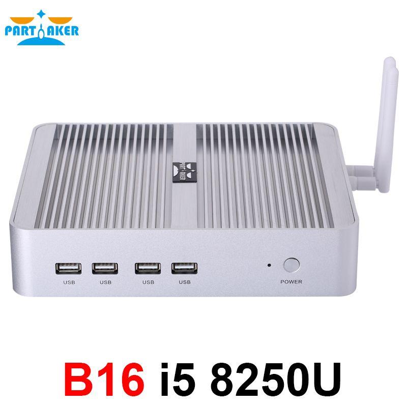 Teilhaftig B16 DDR4 Fanless Mini PC Intel Core i5 8250U i7 8550U 32 gb RAM 512 gb SSD windows 10 Quad core mini pc HDMI UHD grafiken