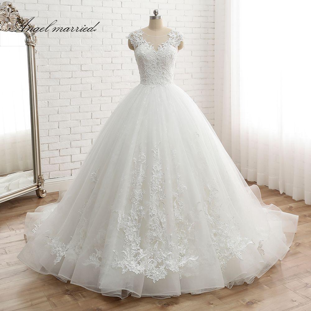 Engel verheiratet vestido de noiva frauen Kappe Hülse Vintage Spitze Braut Kleid Nach Maß Prinzessin Spitze Hochzeit Kleid appliques