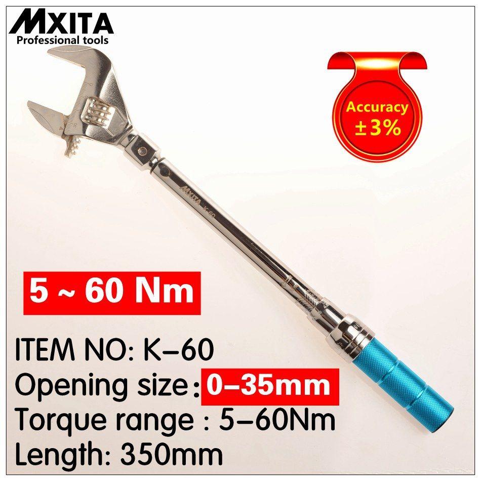 MXITA clé à molette clé dynamométrique réglable clé à main Interchangeable Insert tête dynamométrique clé 9X12 5-60Nm