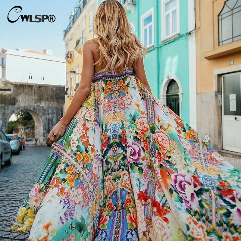 CWLSP Shirred floral Summer Chiffon maxi Dress For Women Sexy Long Beach dresses Strap Holiday Vestido robe <font><b>femme</b></font> QL3652