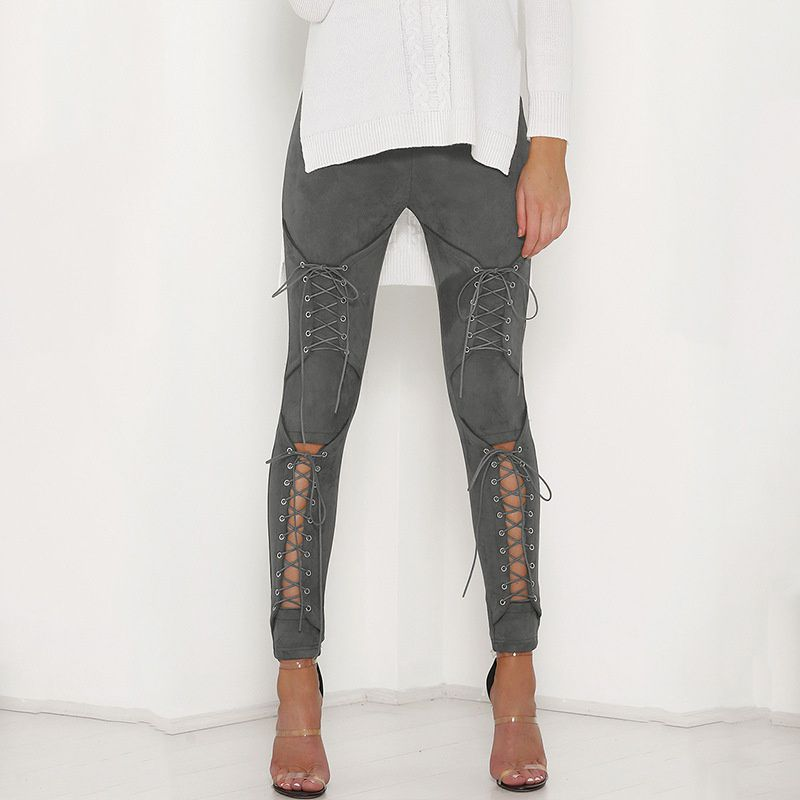 2018 New Suede Leather Pencil Pants Lace Up Cut Out Fashion Trousers For Women Sexy Bandage Legging Pants Lace-Up Women's Pants