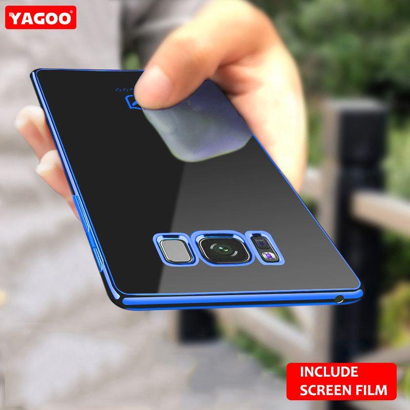 Pour Samsung S8 cas pour Samsung Galaxy S8 plus cas retour couverture souple TPU protection coque plaine rouge bleu pour galaxy s8 + Yagoo