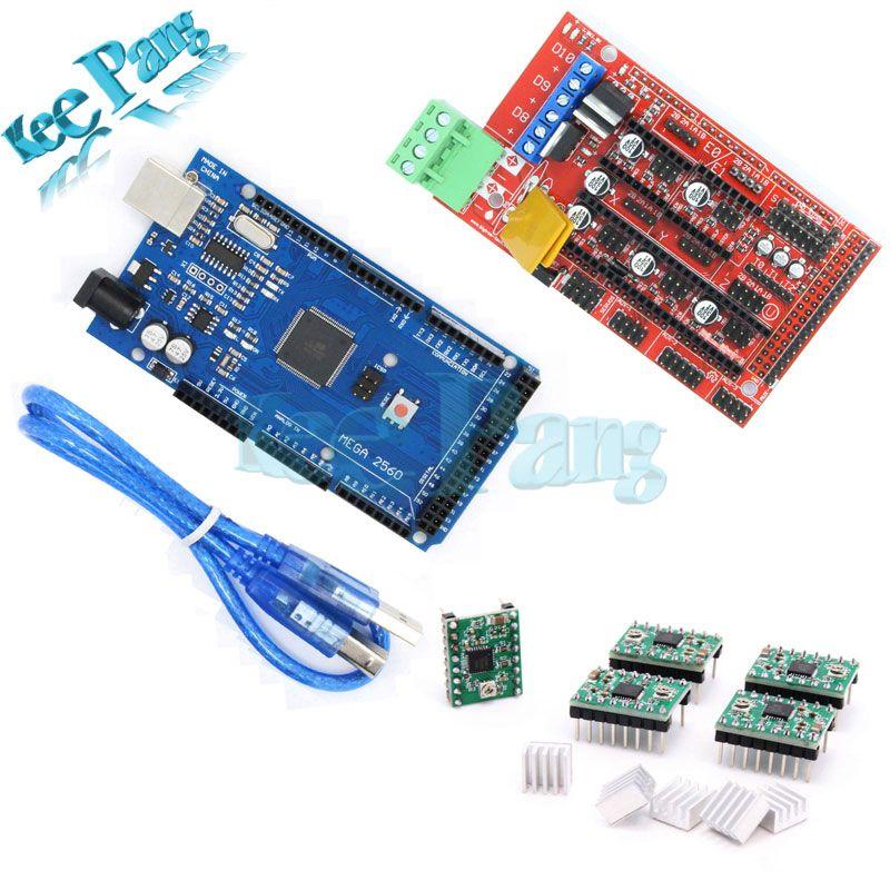 Mega 2560 R3 + 1pcs RAMPS 1.4 Controller + 5pcs A4988 Stepper Driver Module Board Part For 3D Printers Parts Motherboard kit