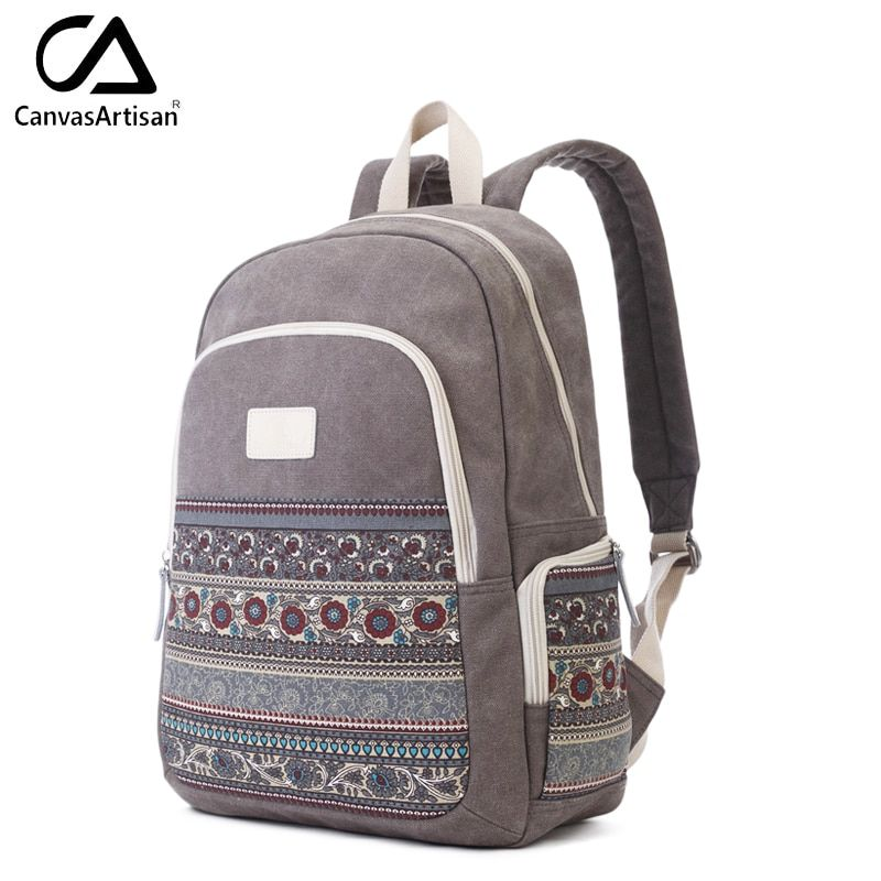 Canvasartisan Top Quality Women Canvans Backpack Bag Female Retro Floral Style <font><b>Leisure</b></font> Big Capacity Travel Laptop Backpacks