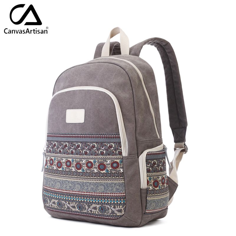 Canvasartisan Top Quality Women Canvans Backpack Bag Female Retro Floral Style Leisure Big Capacity Travel Laptop Backpacks