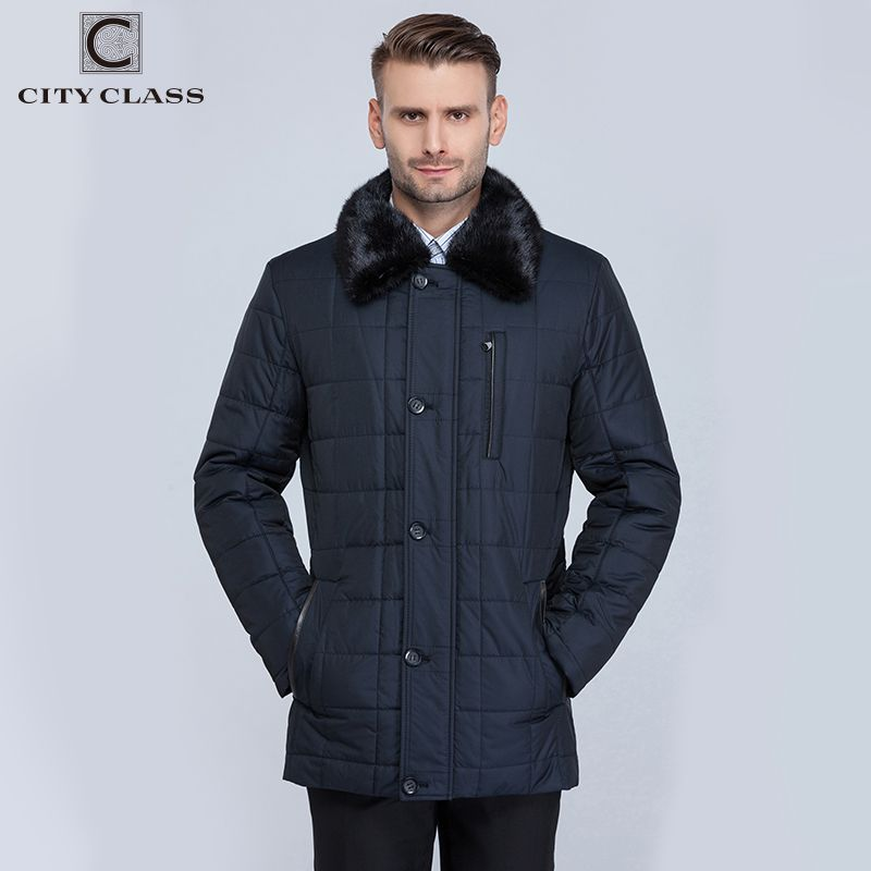CITY CLASS New Men Business Coats Winter Warm Jackets X-long Thinsulate Classic Removable Lining Mink Collar Long Parkas CC15335