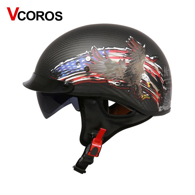 VCOROS carbon fiber Open face motorcycle helmet unique Retro half face motorbike helmet with sun shield visor moto helmets DOT