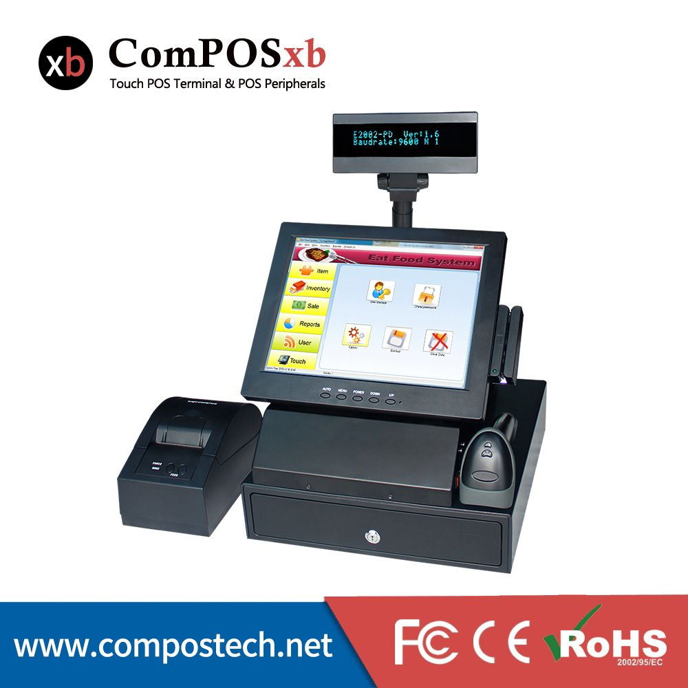 12 Inch Led Panel Pos Cash Register Terminal All In One With Cash Drawer And Printer Cash Systems Restaurants Equipments