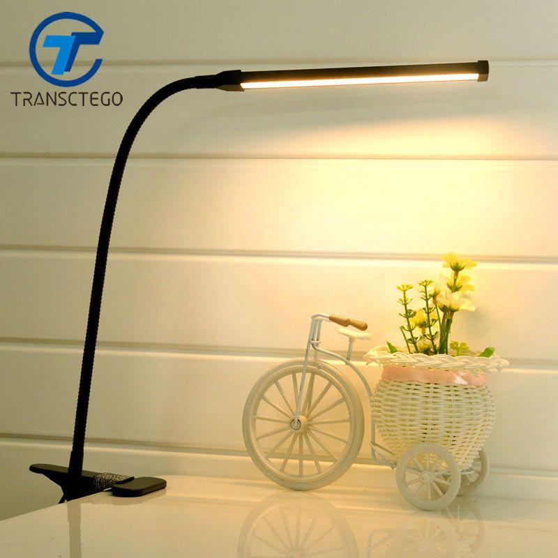 LED Clip Lumière Type Bureau Pince Lampe Gradation Lecture eye USB Lampes Lampes de Table Dimmable 2 Couleurs D'éclairage