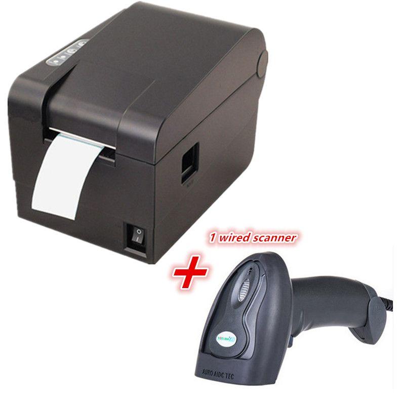 1 Scanner de codes à barres filaire + étiquette de vêtements imprimante de codes à barres thermique 58mm imprimante Qr code l'imprimante d'étiquettes sans séchage