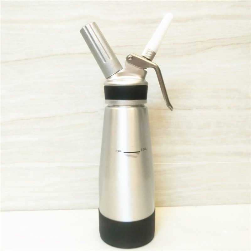 Free Shipping Whipped Cream Dispenser-Aluminium Body & Head-500ml Cream Whipper-3 Decorating Nozzles