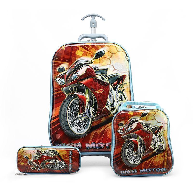 New 3D Kids Rolling School Bags Girl's Boy's Trolley Case Children Travel suitcase School Mochila Kid's Trolley Bags School Bag