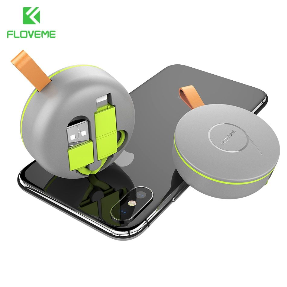 FLOVEME 2 in 1 USB Retractable Für iPhone/Micro Usb-kabel 2.1A Ladung für iOS iPhone X 10 7 8 SE Ladegerät Handy Kabel 1 mt