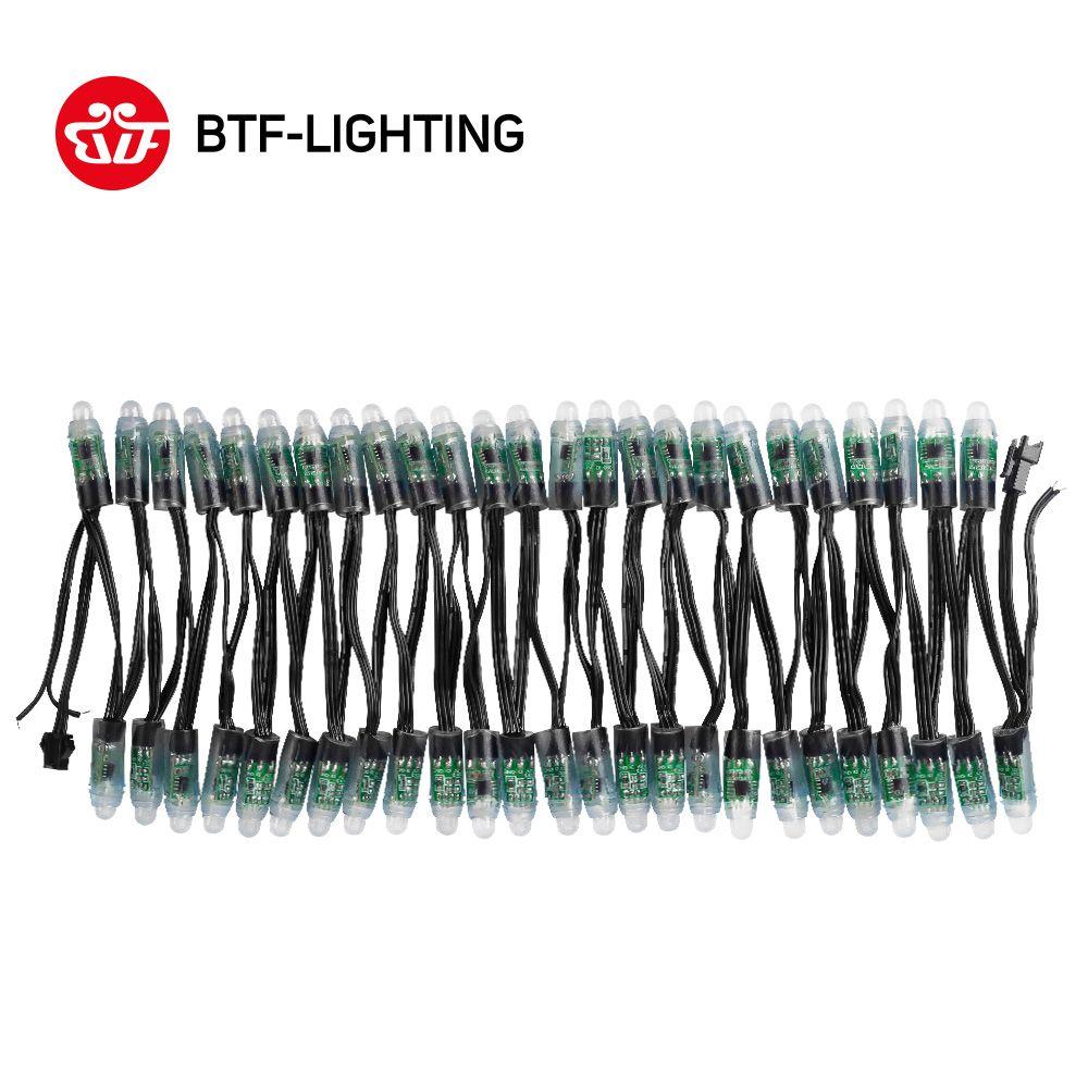 WS2811 DC 5 v/12 v 12mm WS2811 LED Module, noir/Vert/Blanc/RWB Fil, IP68 étanche Pixels cordes lumière De Noël