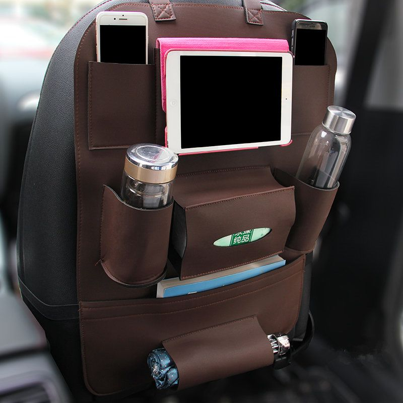GSPSCN 1pc New Pu Leahter Multi-functional Anti-Child-Kick pad  Car Auto Seat Back Protector Cover with Multi-Pocket Storage Bag
