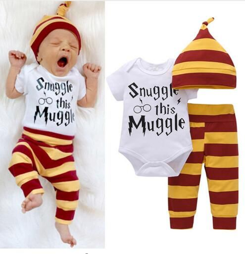 3PCS Baby Clothing Set Newborn Baby Boys Girls Letter Wizard Tops Bodysuit+Stripe Pants+Hat Outfits Clothes 0-24M Super Cute