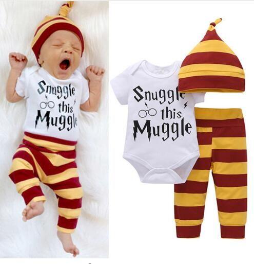3PCS Baby Clothing Set Newborn Baby Boys Girls Letter Wizard Tops Bodysuit+Stripe Pants+Hat Outfits Clothes 0-24M Super Cute