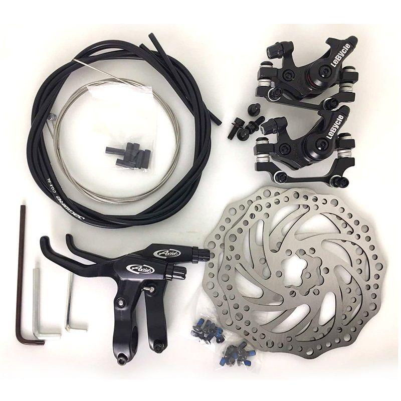 Jeu de freins à disque général VTT frein de bicyclette ligne mécanique tirant frein à disque étrier avant étrier arrière 160mm jeu de câbles