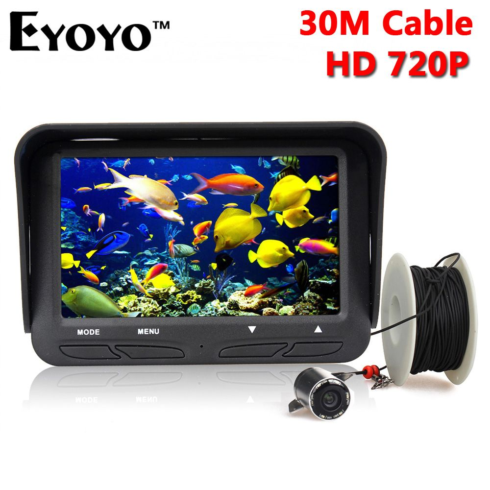 Eyoyo 30m 720P Professional Underwater Ice Fishing Camera Night Vision Fish Finder 6 Infrared LED 4.3 inch LCD Monitor