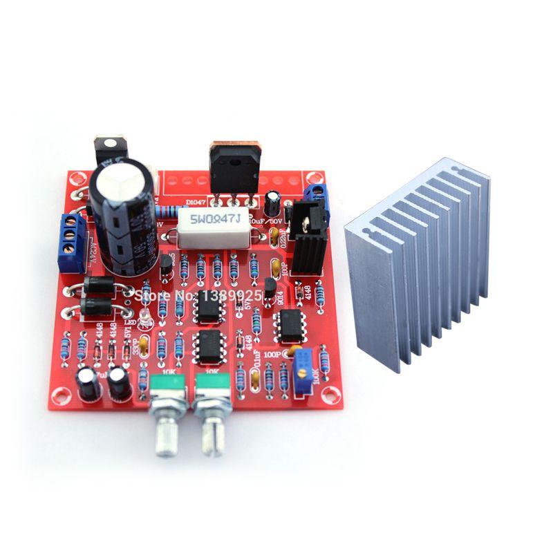 2in1 livraison gratuite 0-30 V 2mA-3A réglable DC régulé kit de bricolage + radiateur aluminium dissipateur thermique