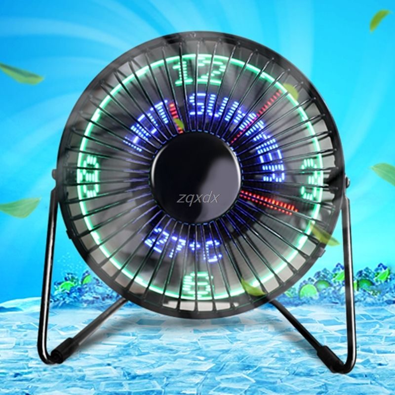 Desktop USB LED Fan Real Time Temperature Message Cooling Fan For PC Home Office  Drop ship