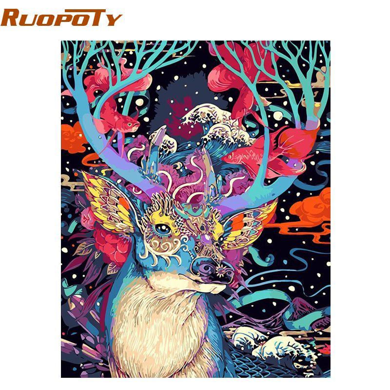 RUOPOTY noël cerf peinture à la main par numéros animaux peinture acrylique par numéros peint à la main peinture à l'huile mur Art photo 40X50