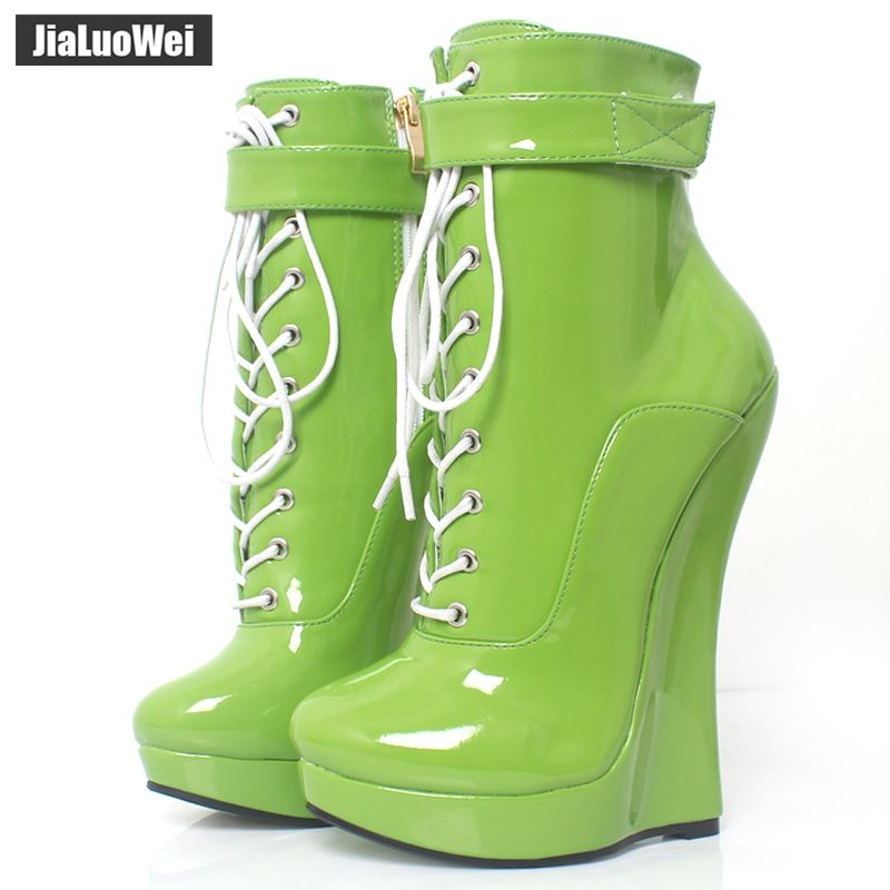 jialuowei New Arrive Sexy Fetish Super High 18cm Super Wedge Heel Pointed Toe Zipper Cross-tied Ankle BALLET Boots Plus Size
