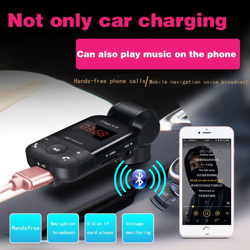 New Auto Bluetooth FM Transmitter Handsfree Car Kit Voltage Detection Noise Cancellation Audio MP3 Player Dual USB Cars Charger