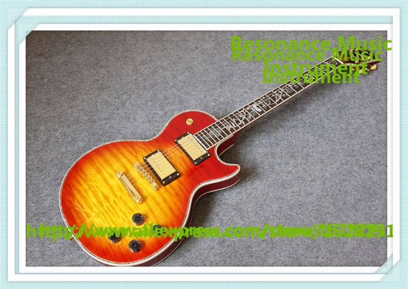 New Arrival China 24 Frets CS Cherry Sunburst Finish LP Electric Guitars With Solid Mahogany Guitar Body For Sale
