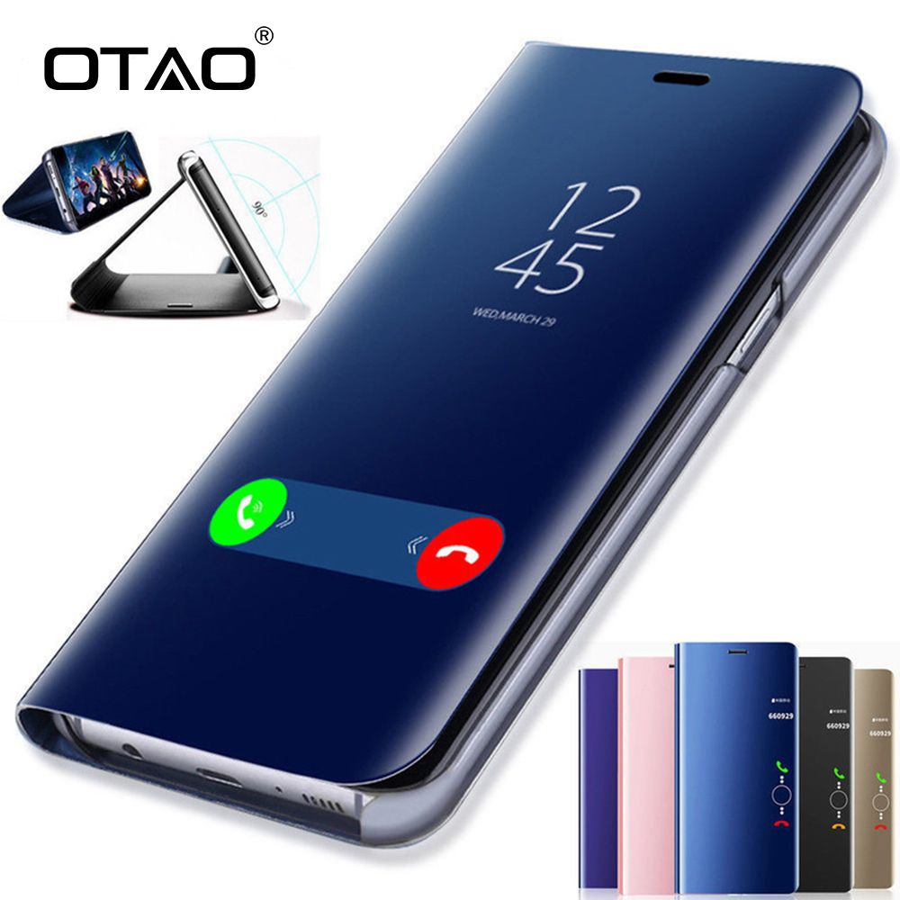 OTAO Clear View Smart Mirror Phone Case For Samsung Galaxy S9 S8 S7 S6 Edge Plus For Note 8 5 For A3 A5 A7 A8 2017 2018 Case