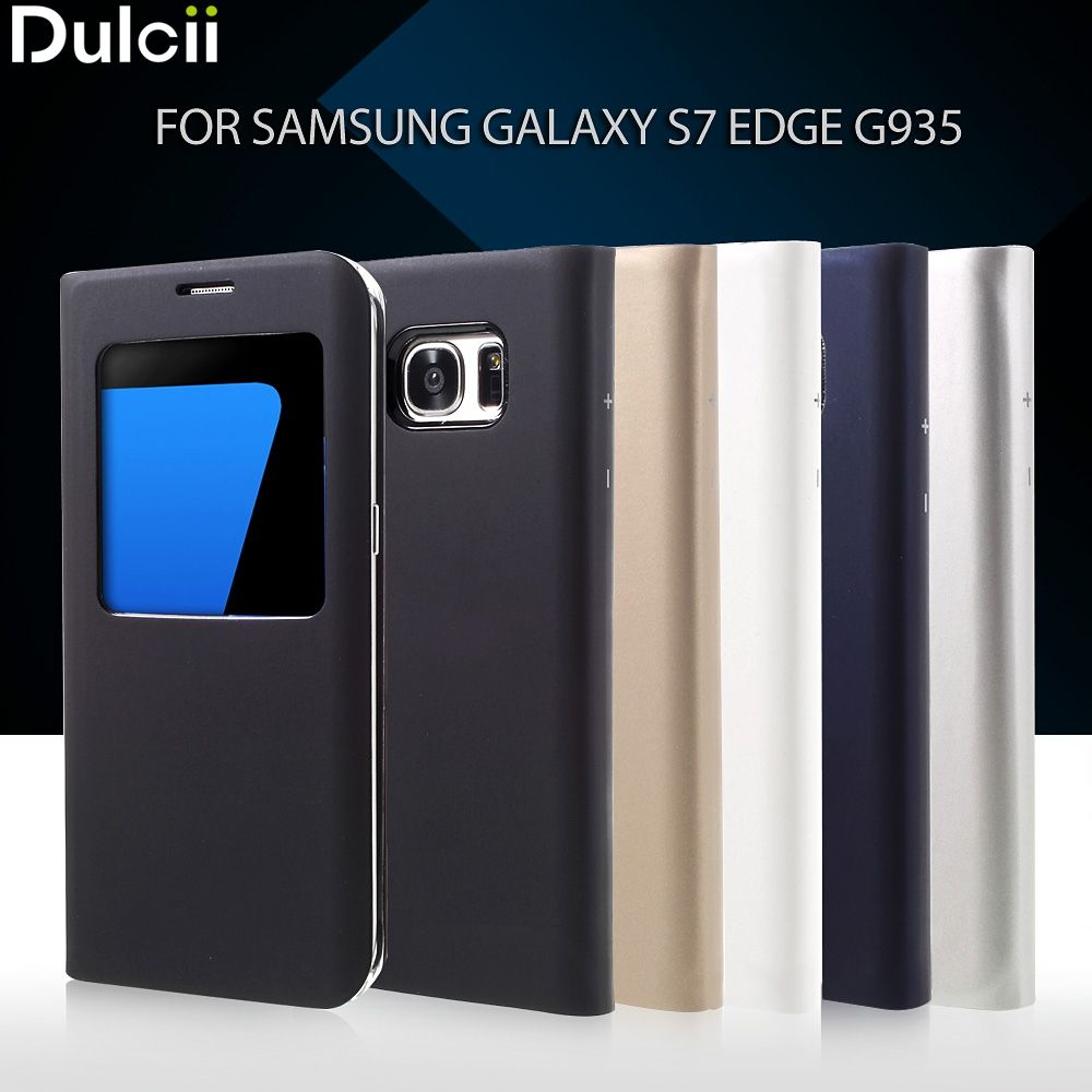 Dulcii for Galaxy S 7 edge PU Leather Cases 5.5 inch Window View Leather Cover Case for Samsung Galaxy S7 Edge G935 Phone Case