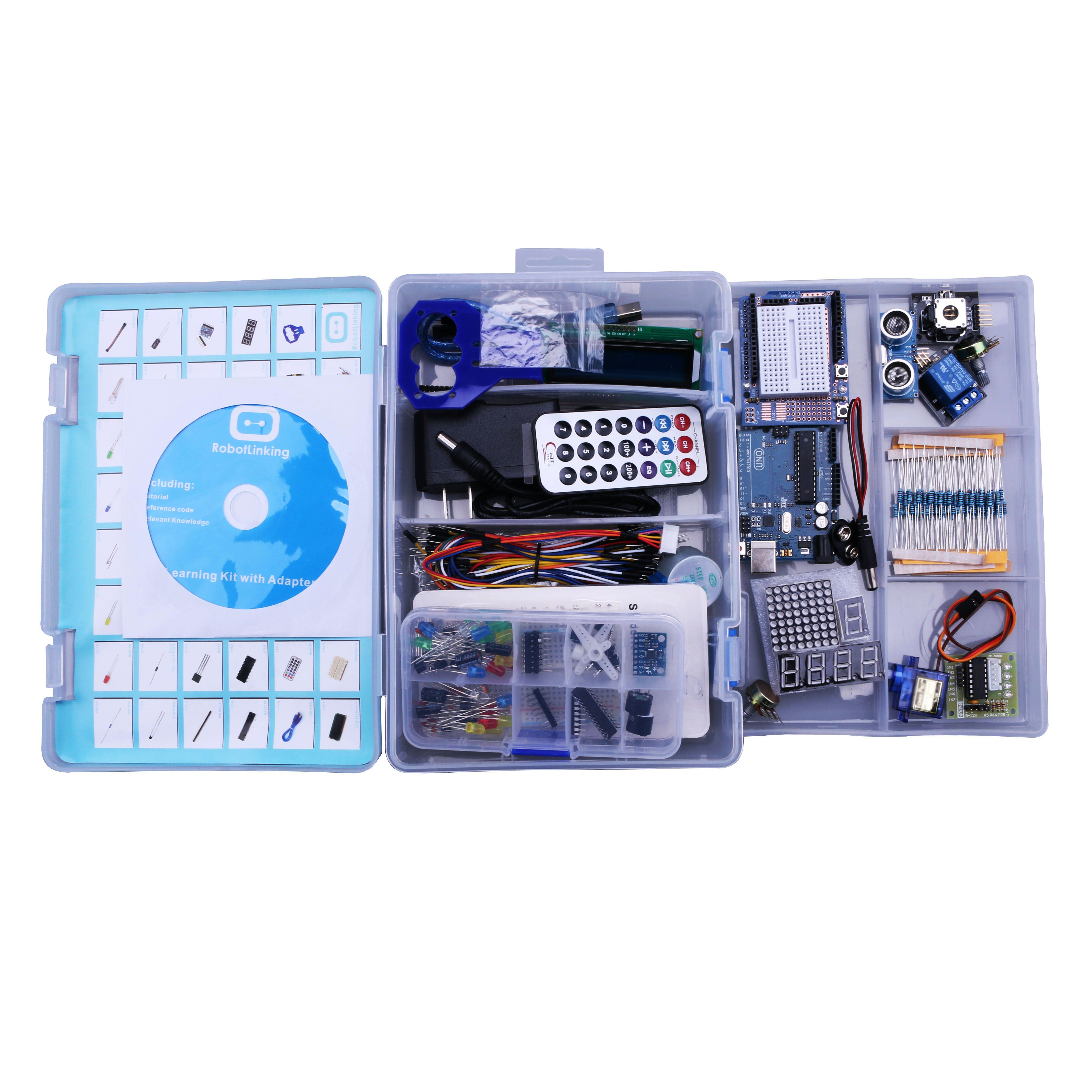 Elego UNO Projet La Plus Complete Starter DIY Kit pour Arduino UNO Mega2560 Nano avec Tutoriel/Alimentation/Moteur pas à pas