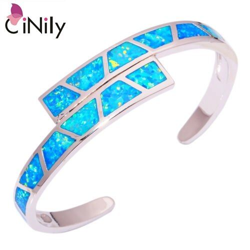 CiNily Created Blue Fire Opal Silver Plated Wholesale Hot <font><b>Sell</b></font> Fashion for Women Jewelry Bangle Bracelet 6 3/4 OS451