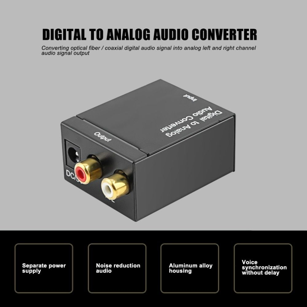 Digital Optical Coaxial Signal To Analog Audio Converter Adapter RCA Digital To Analog Optical Digital Coaxial Audio Converters