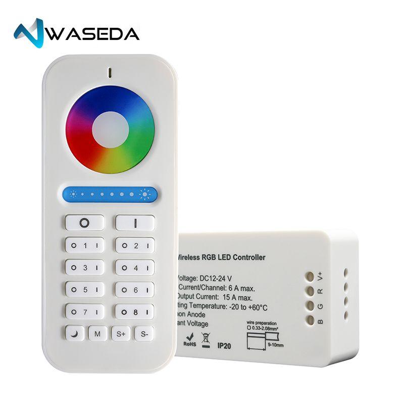 Waseda 2.4GHz RF Led Controller Wireless RGB RGBW RGB+CCT Controller DC12/24V led strip controller wifi 8zone remote LED light