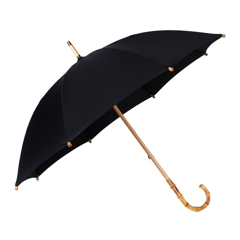 Hot Sale Bamboo Rattan Long Umbrella Men Retro Curved Handle Large Rain Umbrella Strong Glassfiber 8K Windproof Anti UV Parasol