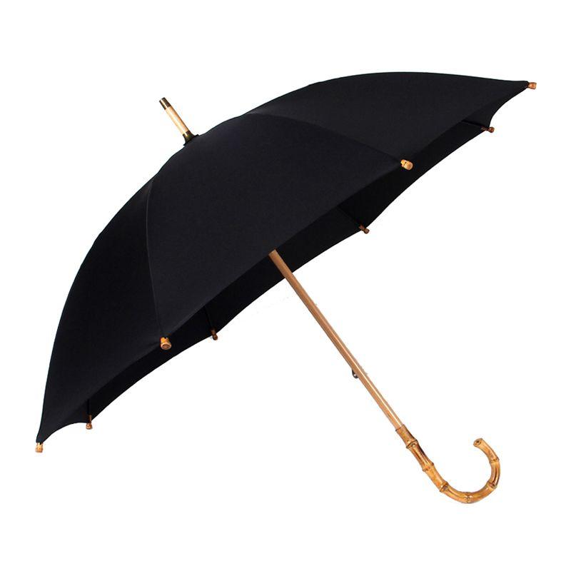 Hot Sale Bamboo Rattan Long Umbrella Men Retro Curved Handle Large Rain Umbrella Strong Glassfiber 8K Windproof Anti UV Parasol