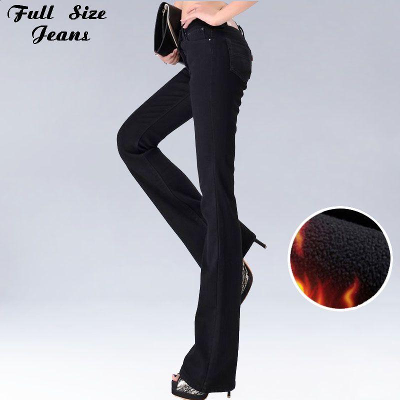 Высокое качество талии Удлиненные сгущаться флис Flare зимние джинсы Femme широкую ногу большой плюс Размеры Жан синий черный бархат Брюки для д...